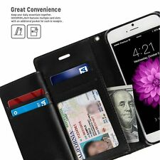For iPhone 7 - BLACK Multi-Cards Leather Wallet ID Cash Slots Diary Case Cover