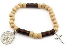 Saint St Benedict Bracelet Wood Beads Rosary Bangle NR Medal and Metal Cross