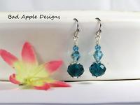 Stainless Steel Teal Blue Crystal Dangle Earrings USA HANDMADE