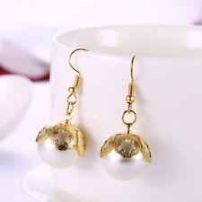 Dangle Charm Vogue Earrings #E328 Womens Gold Plated 18mm Pearl Drop