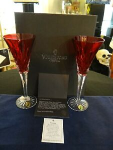 Waterford Crystal Lismore Crimson Champagne Flutes SET OF 2 ~ NEW IN BOX w/CARDS