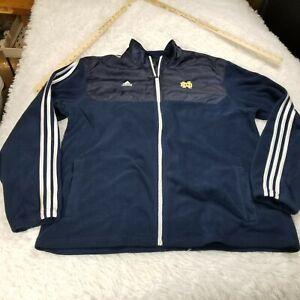 Adidas Notre Dame Fighting Irish Mens Full Zip Fleece Jacket 2XL XXL Blue White