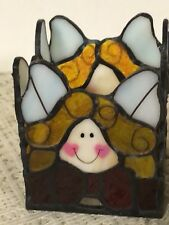 Cute Stained Glass Square Candle Holder Unique Face Design