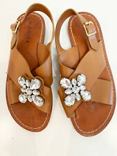 Designer MARNI Tan Leather Size 39 EU Jewel Embellishment Women's Sandals