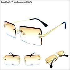 Hombre Clásico Elegante Sofisticado de Diseño Gafas de Sol sin Montura Oro Marco