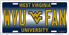 NCAA University of West Virginia WVU FAN Metal Car License Plate Sign