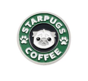 Dog Pug Coffee Brooch Pin Badge Enamel Gift Jewellery Lover Puppy Lapel Funny UK