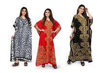 Free Size Kaftan Tunic Holiday Dress Beach Cover up fits 14,16,18,20,22,24