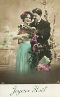 VINTAGE GLAMOUR PHOTO of LOVERS with FLOWERS HAPPY CHRISTMAS POSTCARD - UNUSED