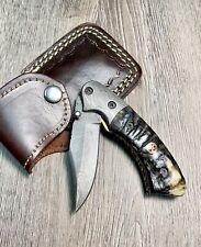 Custom Hand Forged Damascus Steel Liner-Lock Folding Knife   Ram Horn