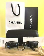 CHANEL SUNGLASSES BLACK FRAME ~ SWAROVSKI CRYSTAL 4117-B W/CASE & ORINAL PACKAGE