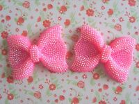 2 x Large Sparkly Hot Pink AB Resin Bows Flatback Embellishment Cabochon UK