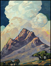 HAWKINS Original Mountain Clouds Craftsman Expressionism Oil Art Painting Signed