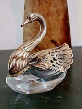 Antique Silver Crystal Figural Salt Sugar Cellar SWAN German Articulating Wings