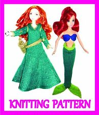 "2 KNITTING PATTERNS FOR BARBIE, DISNEY PRINCESS, 12"" DOLL: ARIEL AND MERIDA"