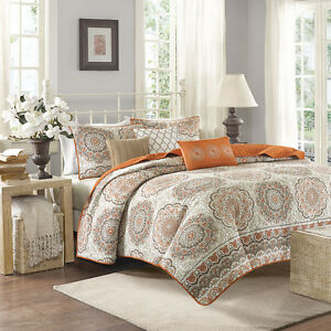 BEAUTIFUL 6pc CHIC TROPICAL ORANGE BROWN TAUPE GLOBAL BOHEMIAN EXOTIC QUILT SET