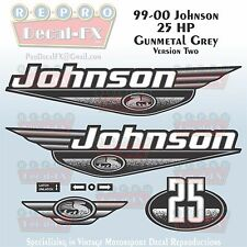 1999-00 Johnson 25 HP Ver2 Gunmetal Grey Outboard Reproduction 8Pc Vinyl Decal