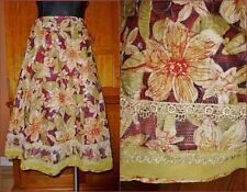 Cynthia Steffe Cotton Floral Gold Metallic Embroidery LACE Boho dress SKIRT Sz 2
