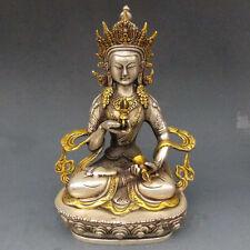 Collection Tibet Silver Copper Gilt White Tara Buddha Buddhism Statue
