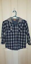 Bx14) Boys size 8 Blue Check Long Sleeve Hooded Shirt
