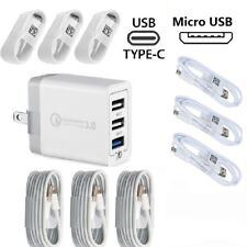 30W 3-Port QC3.0 Quick Fast Wall Charger USB Cable iPhone Samsung Galaxy Huawei