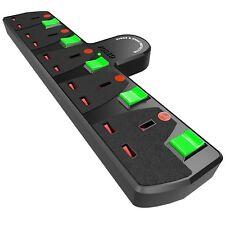 5 Way Adattatore multi-socket commutato PROLUNGA SURGE PROTETTA 5 ATTACCHI NUOVO