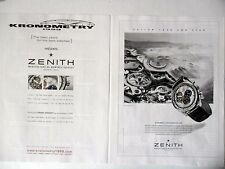 PUBLICITE-ADVERTISING :  ZENITH Chronomaster 1969 Kronometry [2pages] 2014