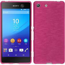 Coque en Silicone Sony Xperia M5 - brushed rose chaud + films de protection