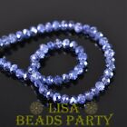 New 500pcs 4X3mm Faceted Rondelle Crystal Glass Loose Spacer Beads Blue