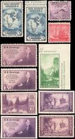 US #735a//755 set MH 1934-1935 commemorative year set of 11 stamps