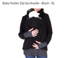 Zip Up Baby Kangaroo Hoodie -Women's -  Black - sz XL