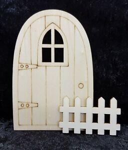 Fairy Garden Accessories - (C) Fariy Door & Fence Unpainted Ready to Paint