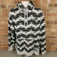 The North Face Black Gray Geometric Mens 2XL Pullover Hoodie Sweatshirt