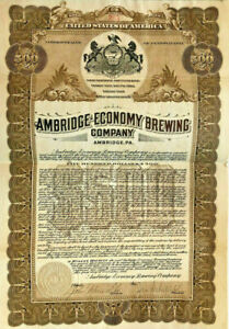 Ambridge Economy Brewing Company > 1911 Pennsylvania beer bond certificate