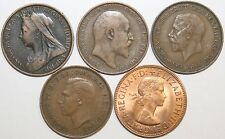 Kings & Queens Complete Penny Set One From Each Reign Victoria to Elizabeth II