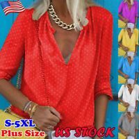 Women's Loose Polka Dot V Neck Tops Casual Long Sleeve Blouse T Shirt Plus Size