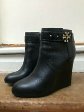 TORY BURCH Black leather wedged heeled boots UK5 EU38
