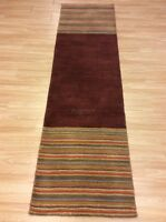 Red Striped Multi Colour Handwoven Wool Large Hallway Runner Rug 68x255cm 60%OFF