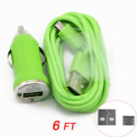 Car Charger +  Micro USB Data 2M 6FT Cord Cable for Samsung i9300 HTC LG Green