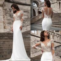 White/ivory Mermaid Satin Wedding Dress Long Sleeve Bridal Gown Custom Size Plus