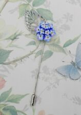 BLUE FORGET-ME-NOT POSY PIN Friendship Brooch Masonic Lapel Pin HAND PAINTED
