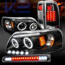97-03 F150 Black Halo LED Projector Headlights+LED Tail Lamp+Smoke LED 3rd Brake