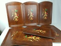 """Lot of 8 Vintage HASKO Horse and Hound Wood Grain Design Serving Trays 18"""" x 11"""""""