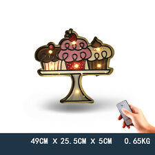 CUPCAKES Led Lighted Marquee Embossed Metal Sign Wall Decor Confectionery Advert