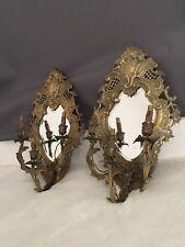 Ancienne Paire D ' Appliques Murales En Bronze Avec Miroir Biseauté 3 Branches