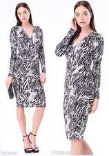 NWT bebe black white zebra print surplice midi long sleeve top dress S small 4