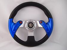 BLUE Steering Wheel with Adapter Ez-go POLARIS Ranger Club car Harley Kubota