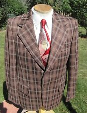 New listing Sweet Vintage 70s Bold Plaid Sport Coat 40R - Bright Polyester Party Unit