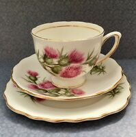 COLCLOUGH 1950s PINK THISTLE TEA TRIO SET CUP SAUCER & PLATE - GILDED BONE CHINA