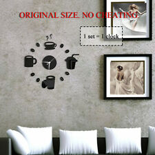 DIY Home Decor Large Coffee Cup Kitchen Wall Clocks Watch Decals Black